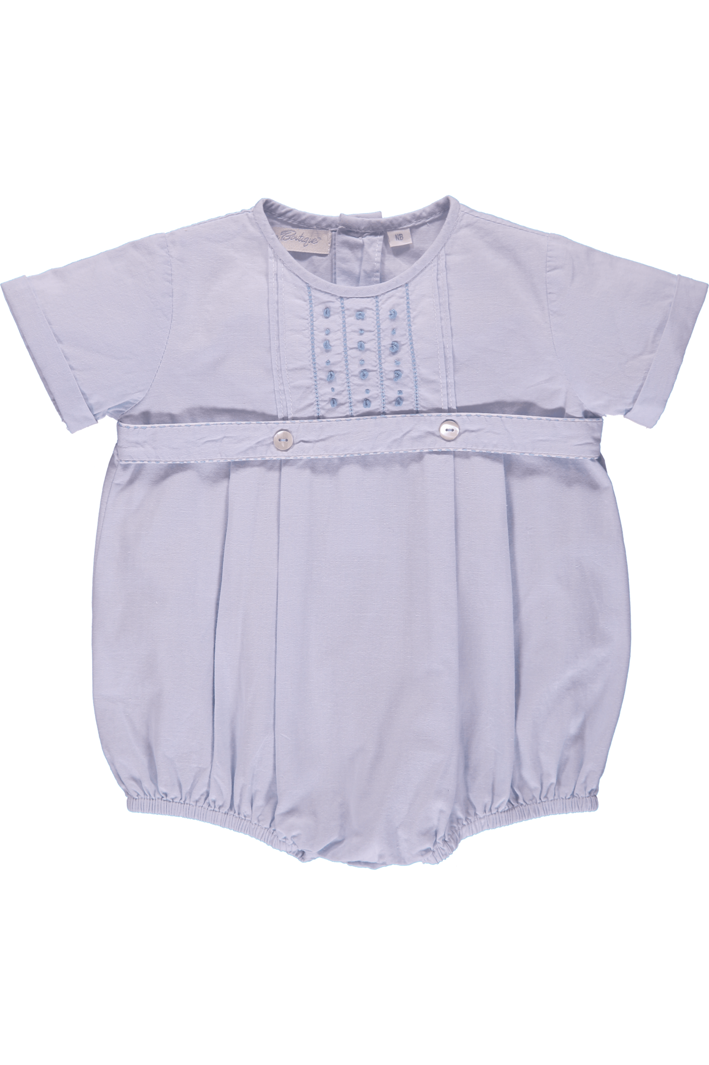 58ed83807 Baby Boy Hand Embroidered Classic Creeper Romper - Blue Tuxedo ...