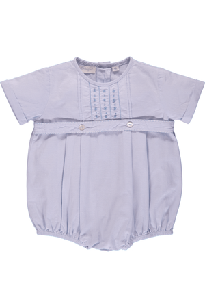 Baby Boy Hand Embroidered Classic Creeper Romper - Blue Tuxedo [product_tags] - Carriage Boutique