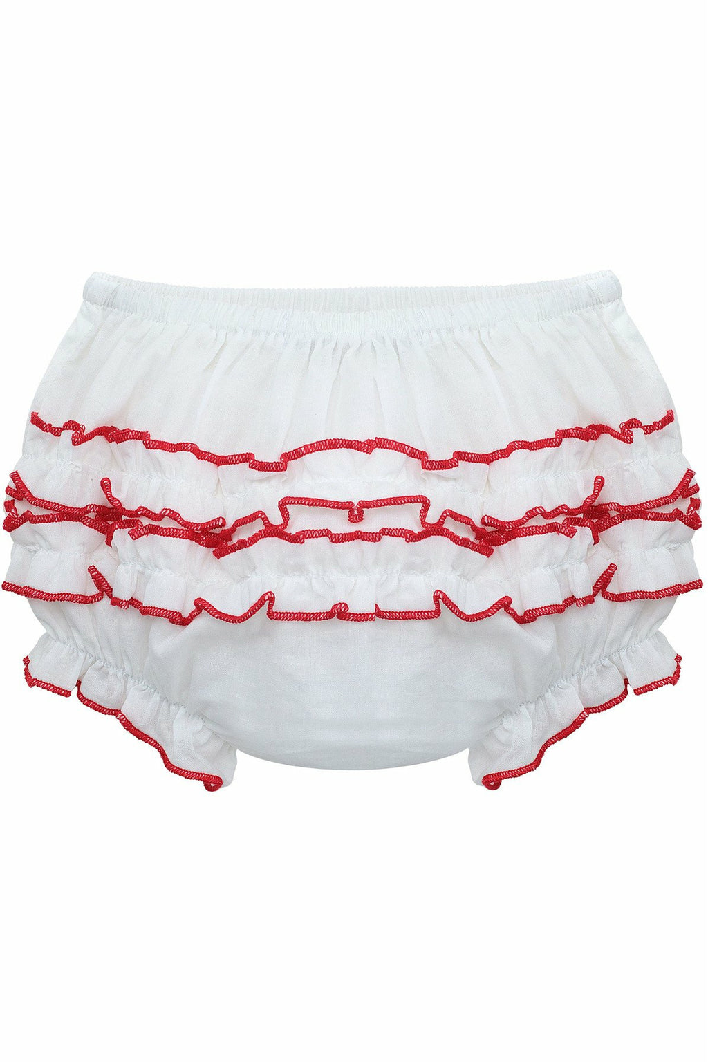 Baby Girls Ruffle Diaper Covers RedTrim