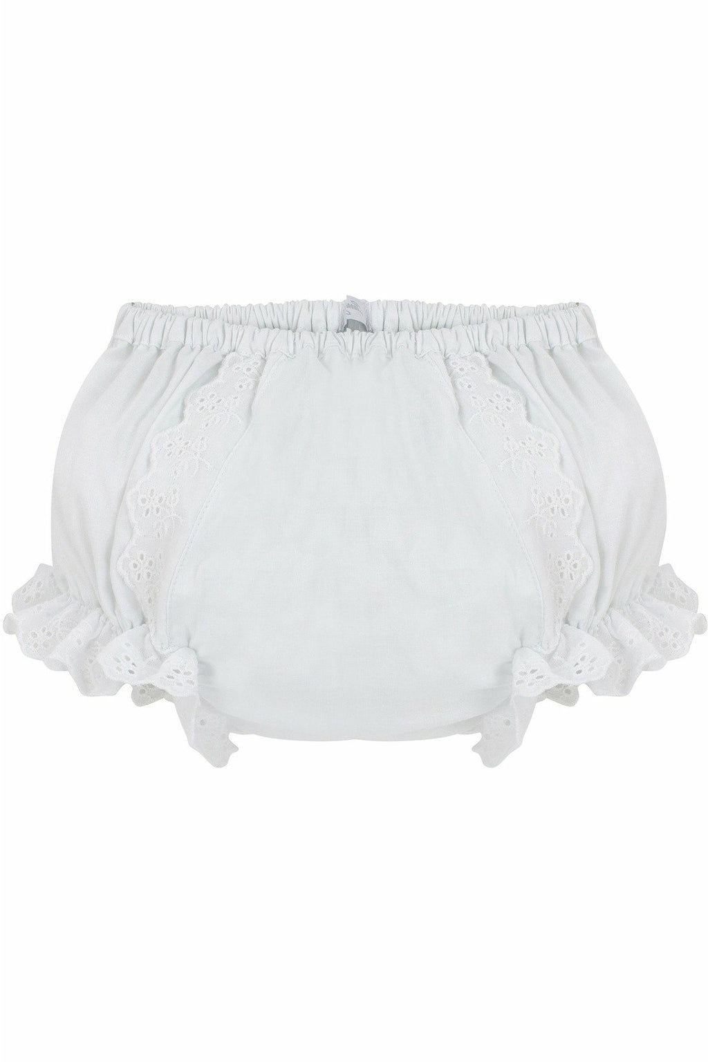 Baby Girls Cotton Diaper Covers - Ruffled White Flowers