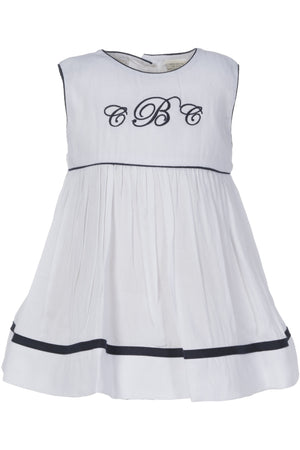 Baby Girl Monogram Blank White and Navy Sleeveless Dress [product_tags] dress- Carriage Boutique