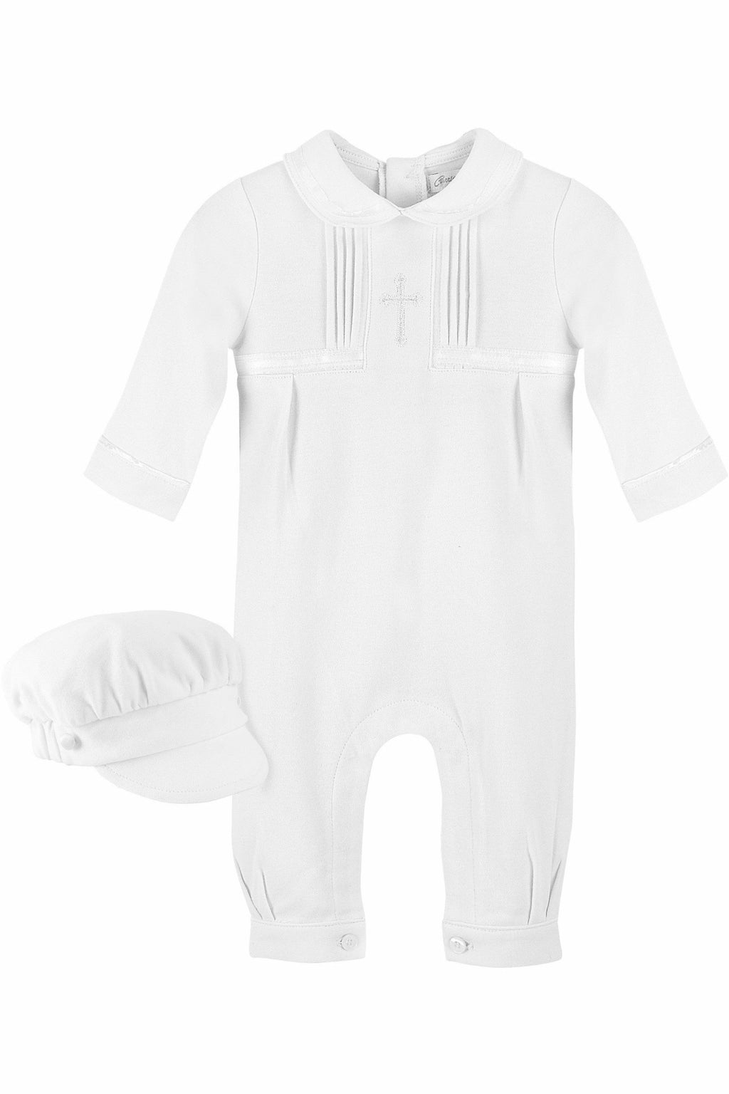 Elegant Baby Boy Christening Cross Outfit With Hat