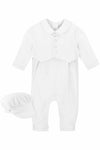 Baby Boy Elegant Christening Set W/ Matching Hat