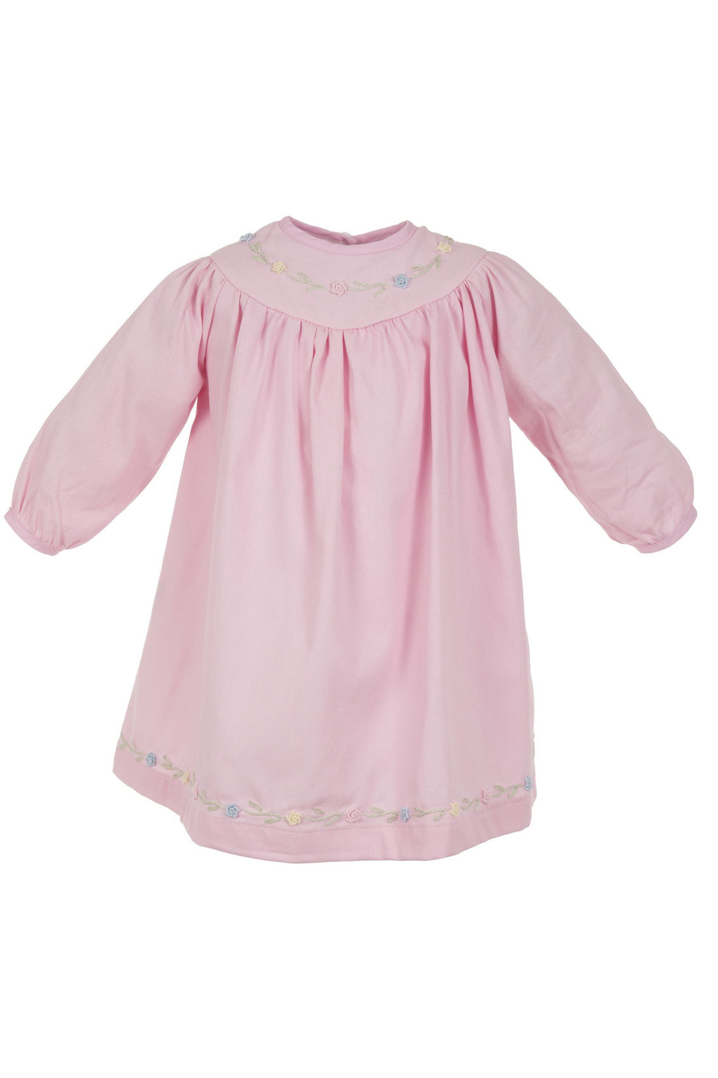 Baby Girl Hand Embroidered Floral Pink Bishop Dress [product_tags] dress- Carriage Boutique