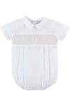 Baby Boys Christening Smocked Cross  Creeper