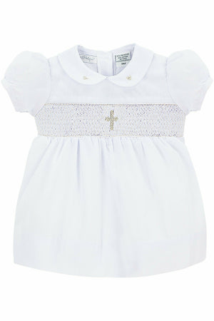 Baby Girls Christening Smocked Cross Dress