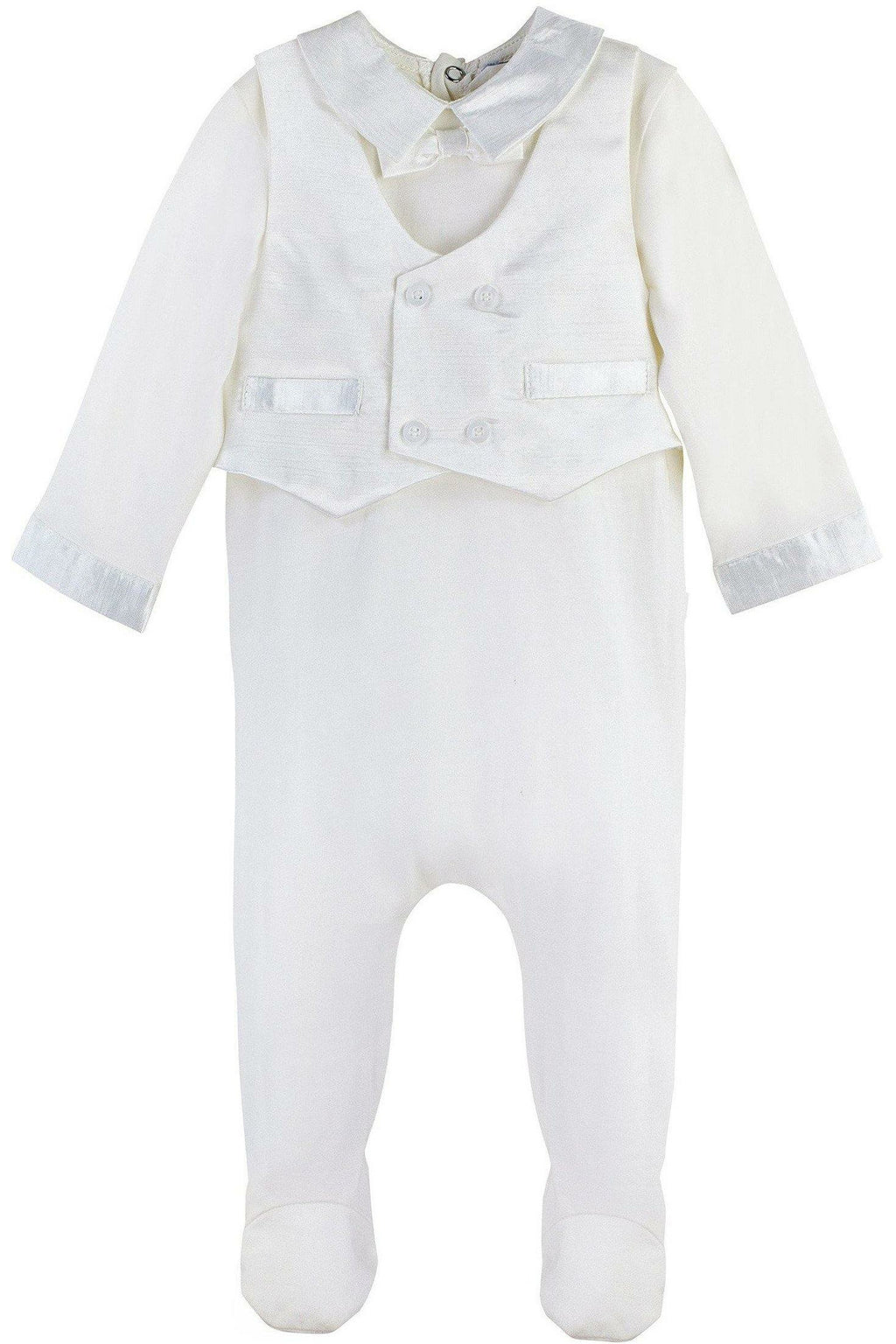 Baby Boy Formal Silk Vest Footsie + Hat
