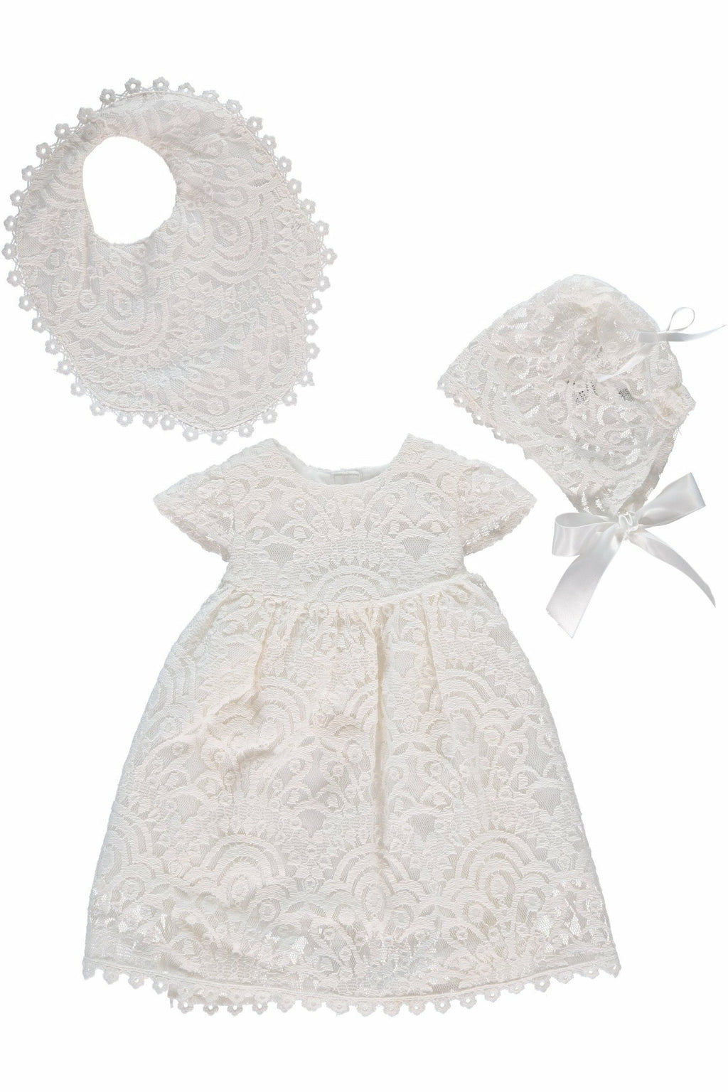 Baby Girl Special Occasion Lace Dress + Bonnet
