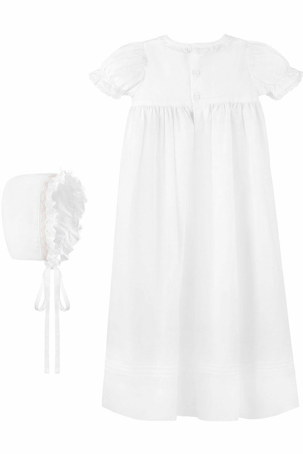 Baby Girl Long Bullion Cross Gown + Bonnet, , Carriage Boutique, Imagewear