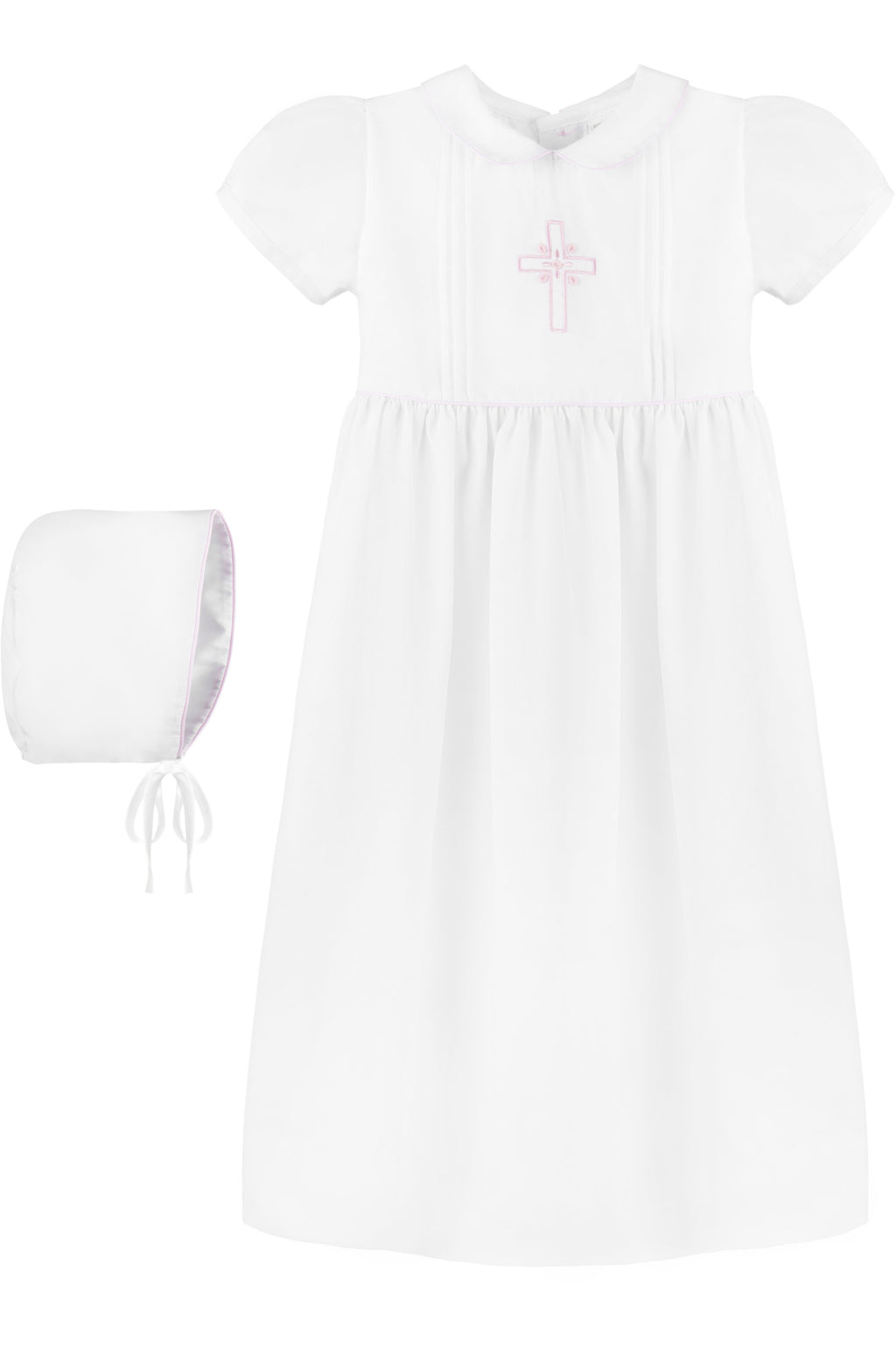 Baby Girl Pink Embroidered Cross Gown + Bonnet, , Carriage Boutique, Imagewear