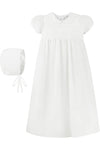 Baby White Smocked Cross Gown + Bonnet, , Carriage Boutique, Imagewear
