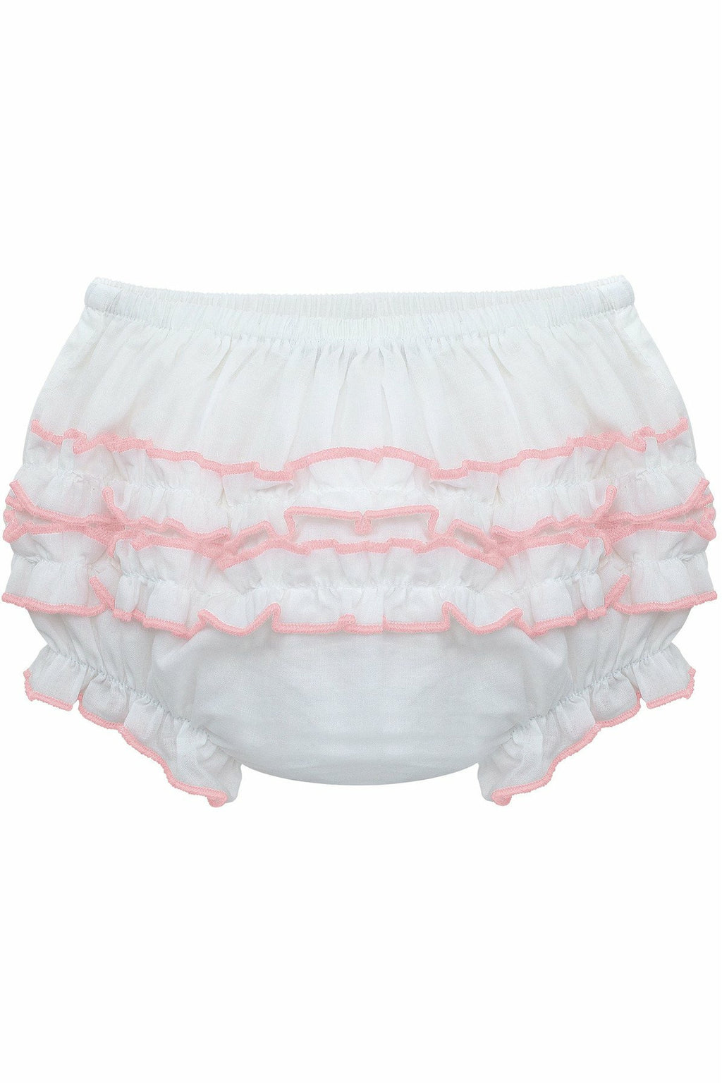 Baby Girls Ruffle Diaper Covers Pink Trim