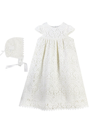 Baby Girl Elegant Lace Gown + Bonnet, , Carriage Boutique, Imagewear