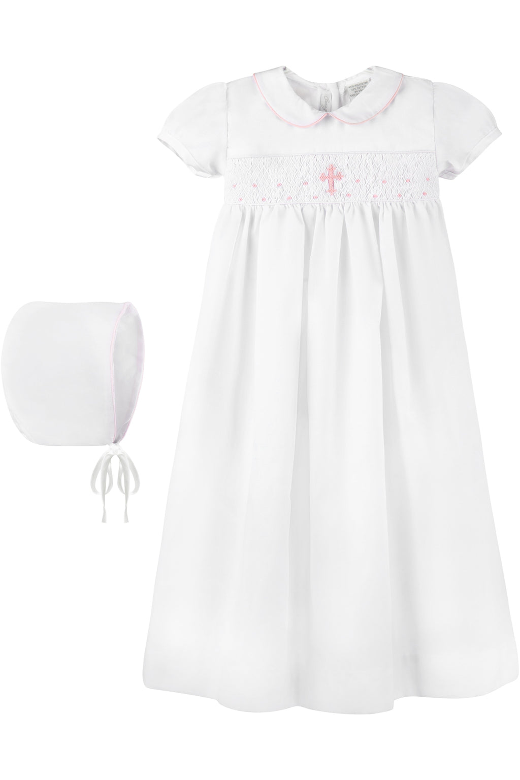 Baby Smocked Pink Cross Gown + Bonnet, , Carriage Boutique, Imagewear