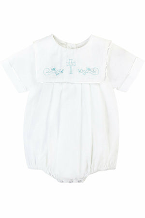 Baby Boy Christening Bib Creeper with Blue Embroidered Cross + Bonnet