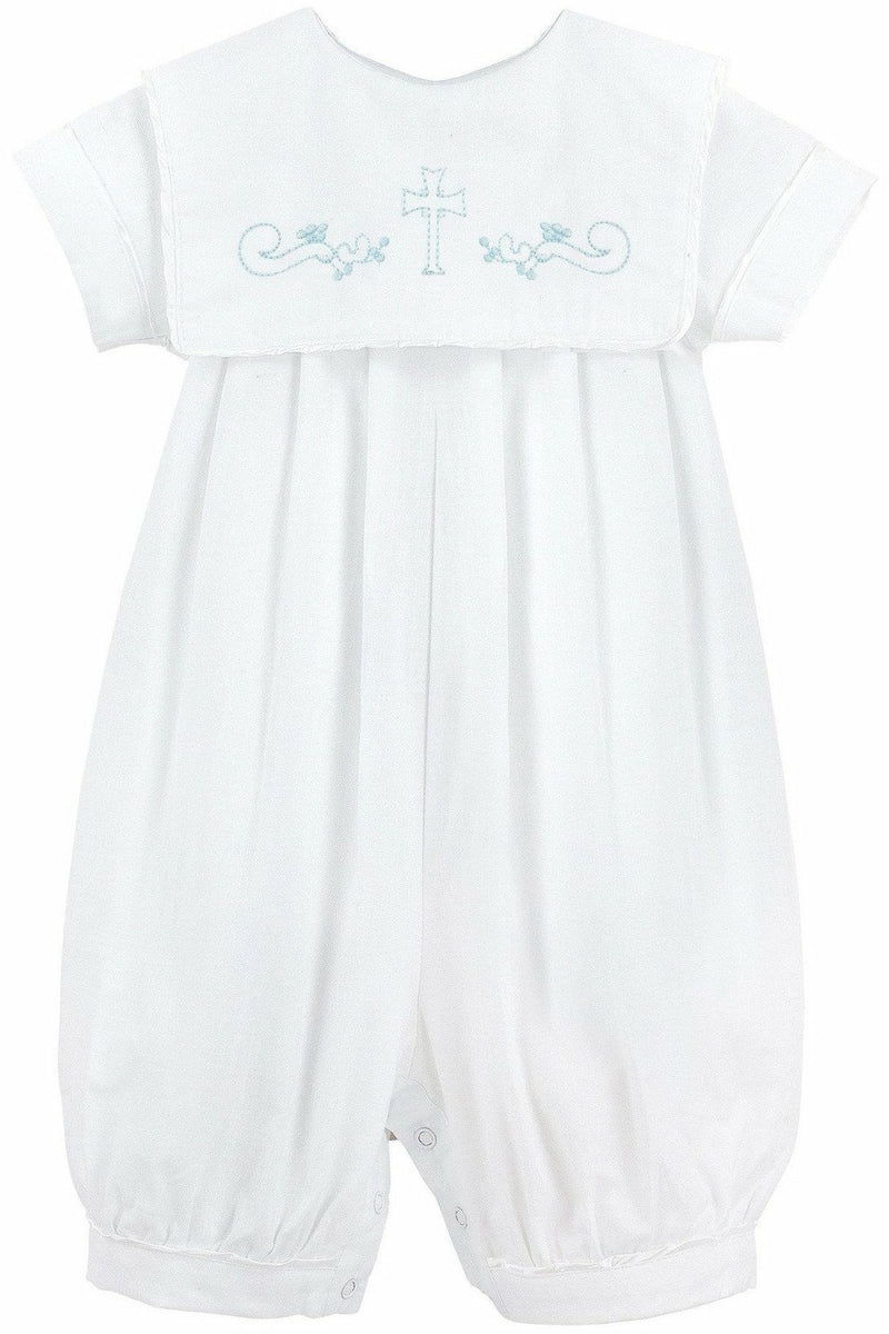 Baby Boy Christening Bib Longall with Blue Embroidered Cross + Bonnet