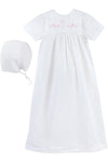Baby White Bib Gown with Pink Embroidery, , Carriage Boutique, Imagewear