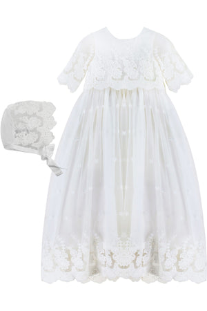 Baby Girl Star Lace Gown + Bonnet, , Carriage Boutique, Imagewear