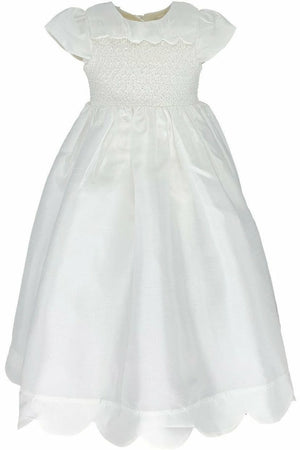 Baby Girl Scallop Christening Gown + Bonnet