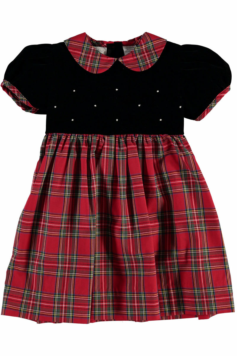 Plaid Party Short Sleeve Velvet Dress
