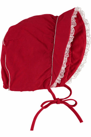 Reindeer Red Bonnet With Lace