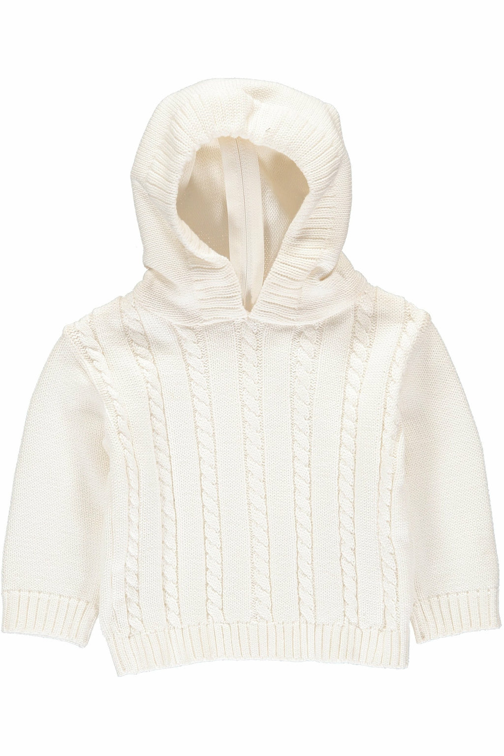 White Cable Zip Back Sweater