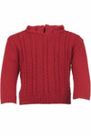 Red Cable Zip Back Sweater