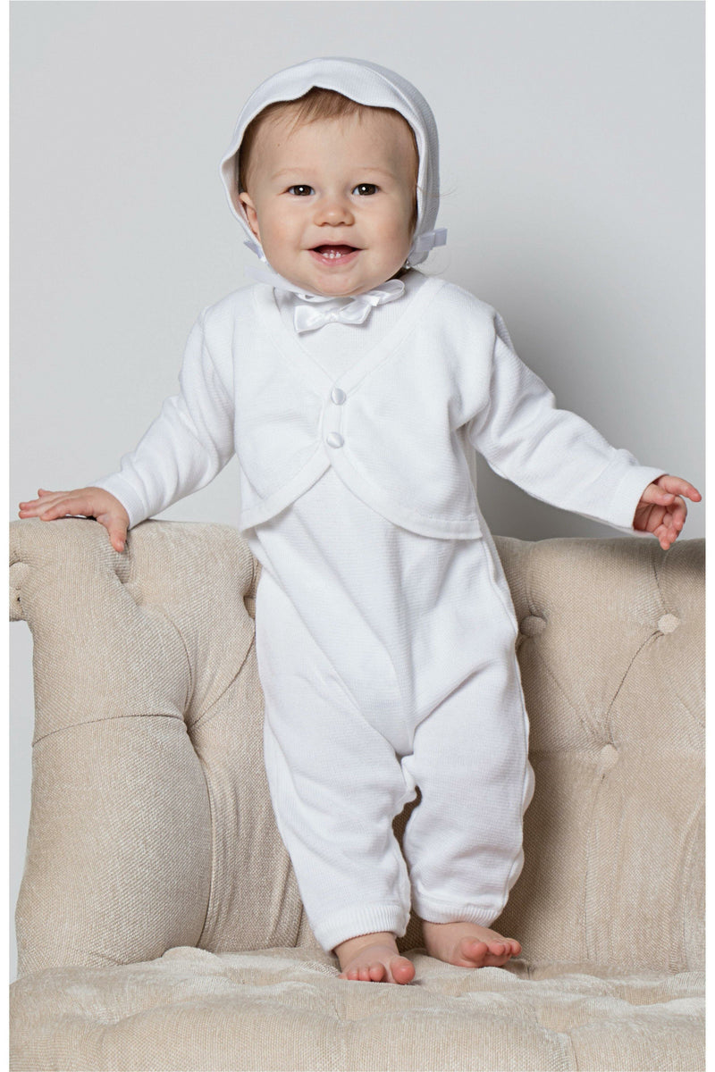 Baby Boys Christening Outfit with attached Vest and Matching Bonnet