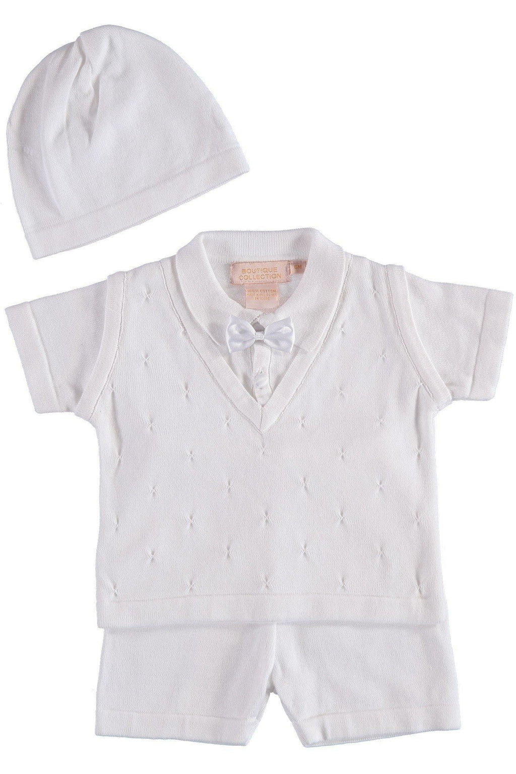 Baby Boy Knit White Short Set