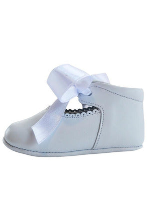 Baby Girl's Christening Leather Shoe w/ Satin Ribbon - White [product_tags] Baby Product- Carriage Boutique