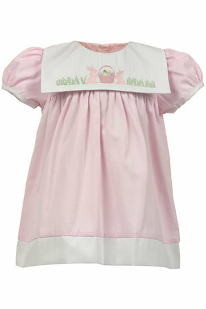 Girls Easter Dress - Pink with Easter Bunnies