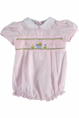 Carriage Boutique Baby Girls Easter Bubble - Pink with Easter Eggs and Bunny