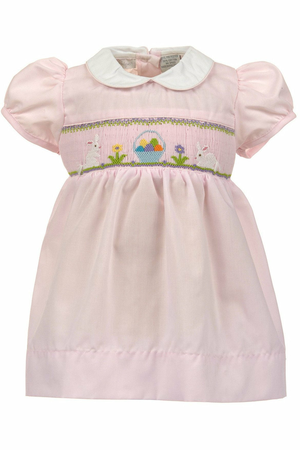 Carriage Boutique Baby Girls Easter Dress - Hand Smocked Easter Bunnies and Eggs
