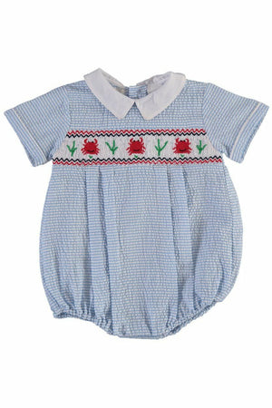 Carriage Boutique Baby Boy Crab Short Creeper -Blue Stripes and Hand Smocked