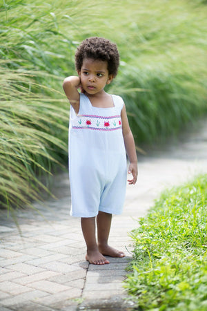 Carriage Boutique Light Blue Sleeveless Romper - Smocked Crabs