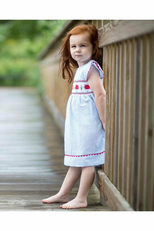 Carriage Boutique Baby Girls Blue Striped Dress - Hand Smocked Crabs