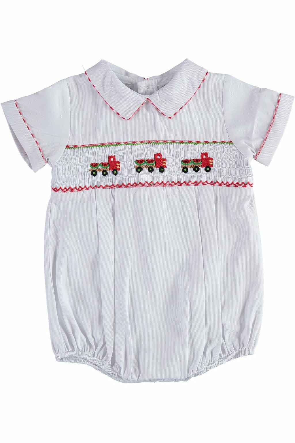 Carriage Boutique Baby Boy White Bubble with Smocked Watermelon Truck
