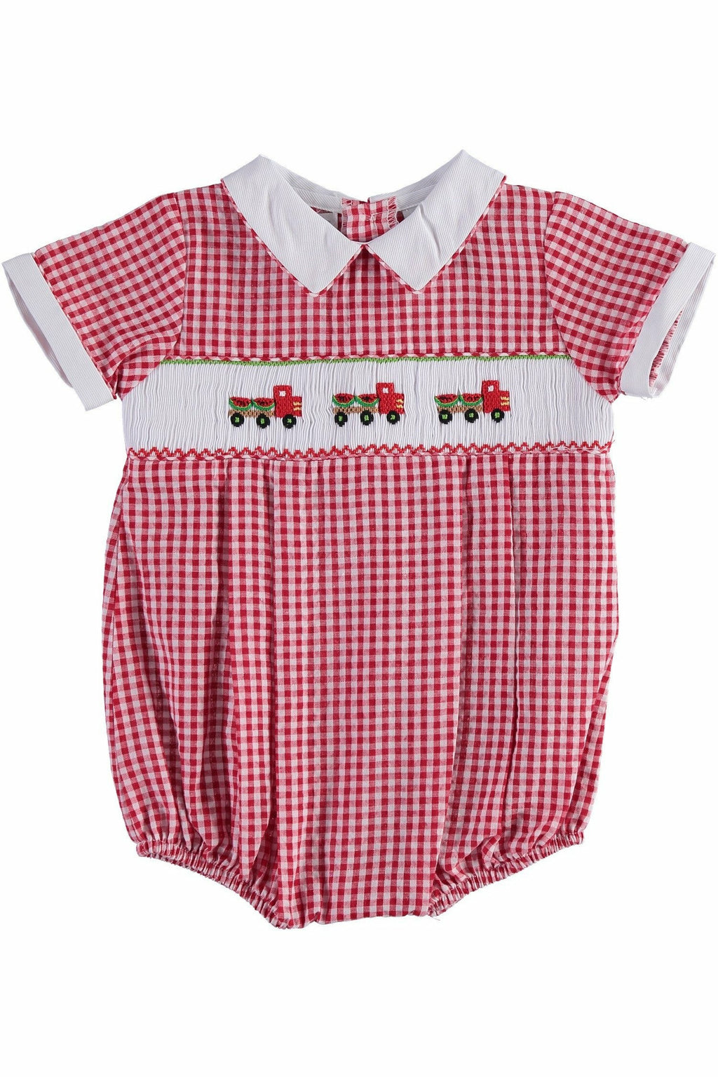 Carriage Boutique Baby Boy Red Checkered Creeper with Smocked Watermelon Truck