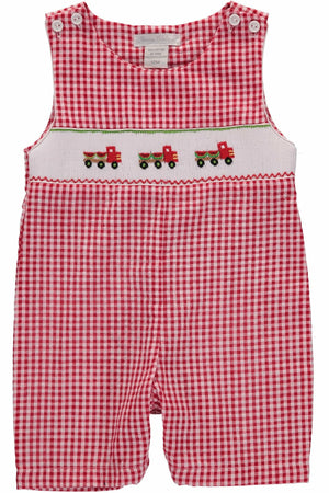 Carriage Boutique Red Checkered Sleeveless Jonjon - Smocked Watermelon Truck