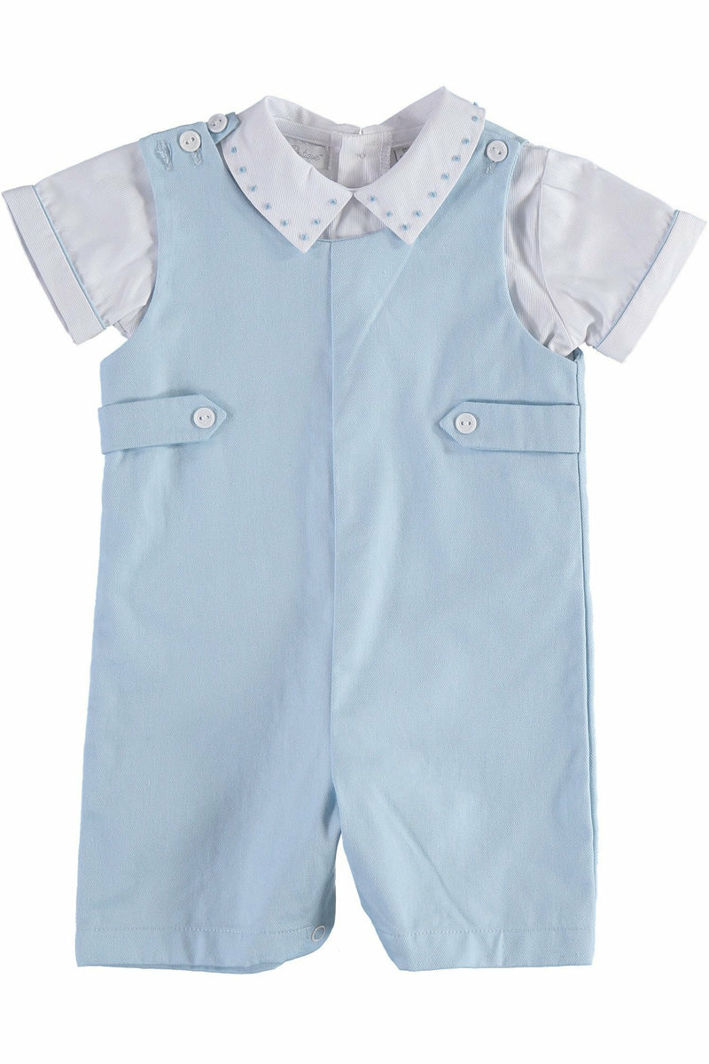 Carriage Boutique Baby Boys Short Romper White Shirt with Light Blue Overalls