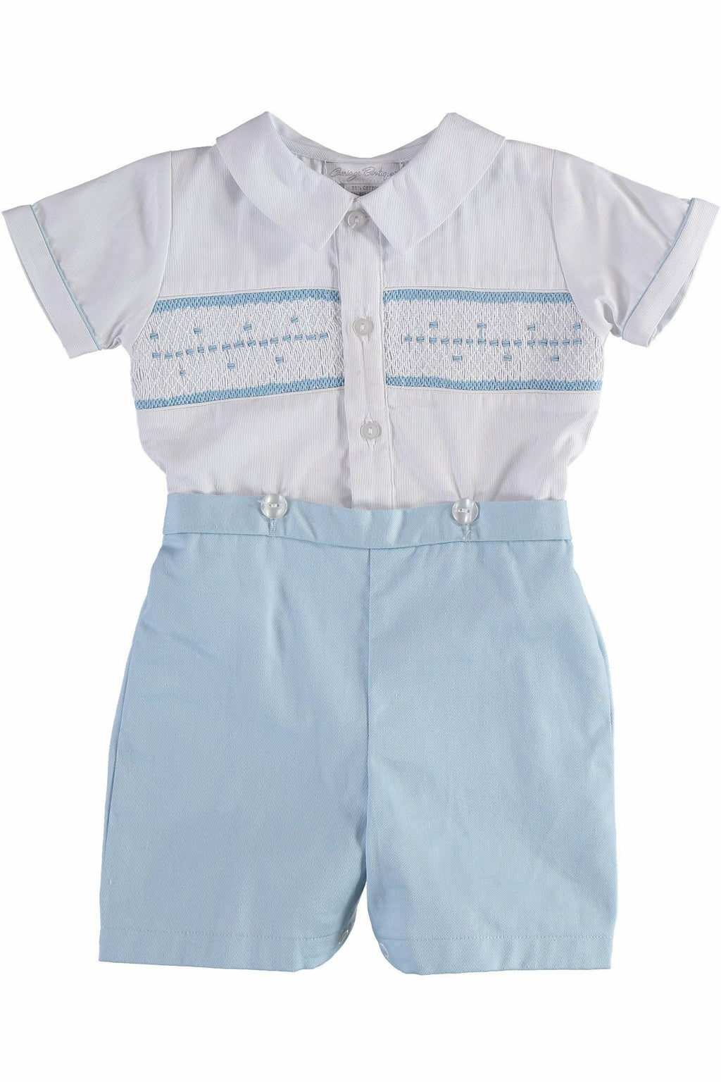 Carriage Boutique Boys Short Romper Set White Shirt and attached Blue Shorts Bobbie Suit with Hand Smocking