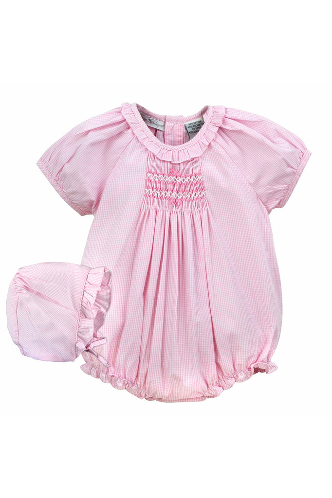 Carriage Boutique Baby Girl Bubble Romper w Matching Hat - Pink Ginham [product_tags] - Carriage Boutique
