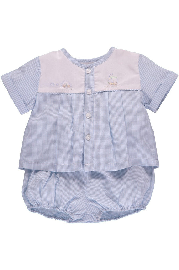 Carriage Boutique Baby Boy Spring 2pc. Diaper Set - Blue Gingham [product_tags] - Carriage Boutique