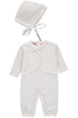 Baby Boys Christening Outfit with attached Vest and Matching Bonnet [product_tags] Apparel- Carriage Boutique