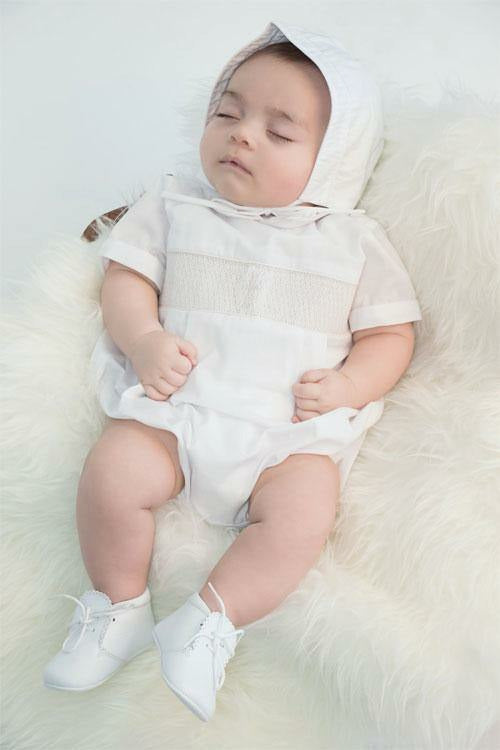 Baby Boys Christening Smocked Cross  Creeper [product_tags] creeper- Carriage Boutique