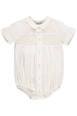 Baby Boys Hand Smocked Special Occasion Creeper with Bonnet - Ivory [product_tags] - Carriage Boutique
