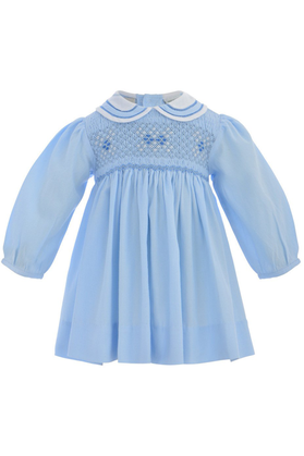 Baby Girl Classic Long Sleeve Dress - Pastel Blue