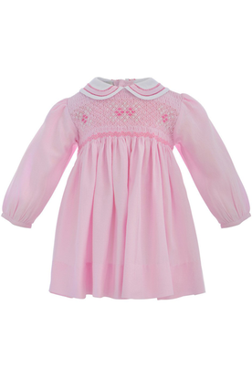 Baby Girl Classic Long Sleeve Dress - Pastel Pink