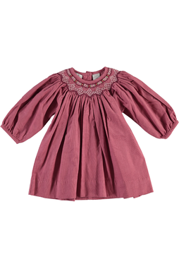 Baby Girl  Purple Flowers Long Sleeve Dress- Bishop
