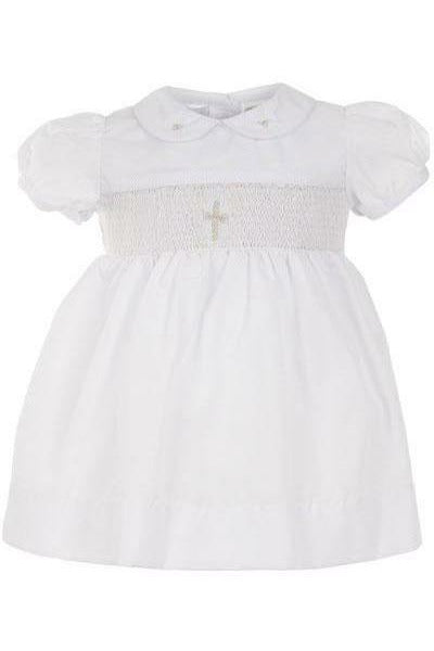 Baby Girls Christening Smocked Cross  Dress [product_tags] dress- Carriage Boutique